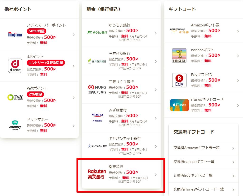 ポイント交換楽天銀行