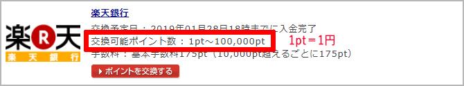 楽天銀行1回10万円まで