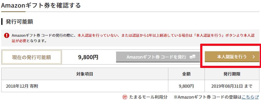Amazonギフト券反映確認