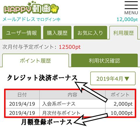 HAPPY動画獲得ポイント
