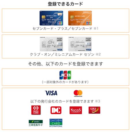 登録可能クレジットカード